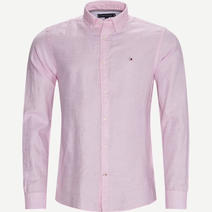 Cotton Linen Twill Shirt - Skjorter - Regular - Pink